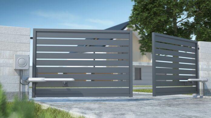 portail motorise fer gris
